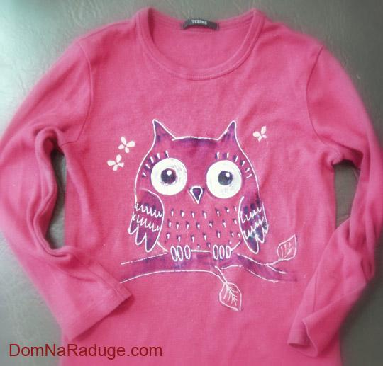 рисунки фломастерами на детской одежде: сова