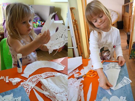 детские апликации из ажурных бумажных салфеток