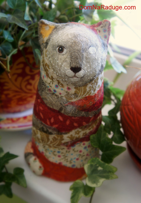 Кот Дарума, игрушка из папье-маше