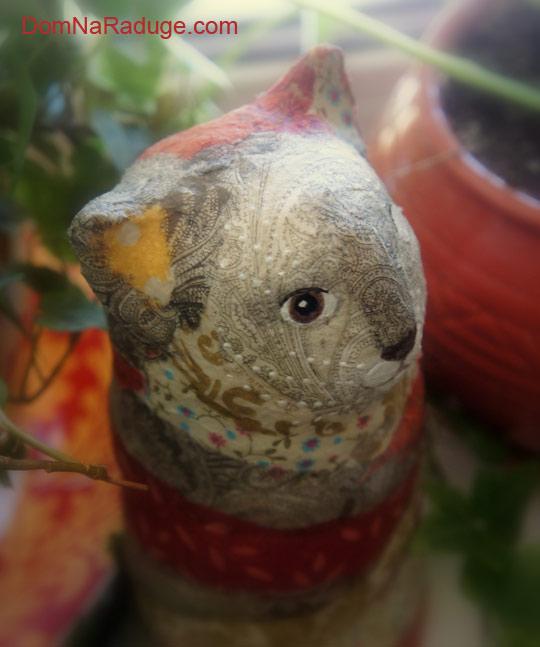 игрушка из папье-маше, кот Дарума