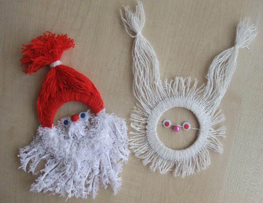 Гном и кролик из пряжи и картона
