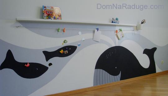 необычная роспись стены в детской комнате