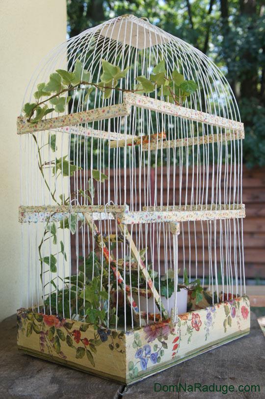 декупаж на клетке для птиц