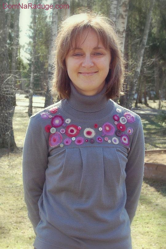 вяляние из шерсти - декор для свитера