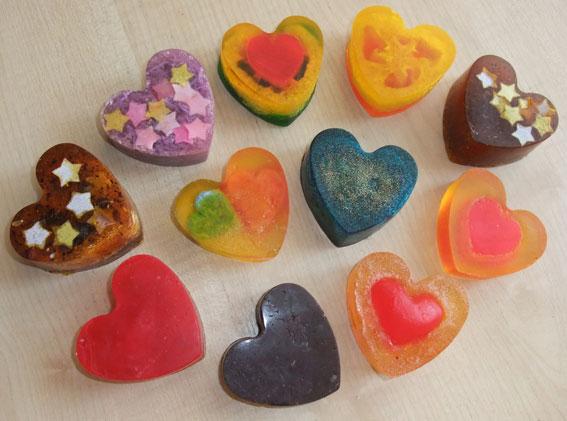 домашнее мыло - сердечки
