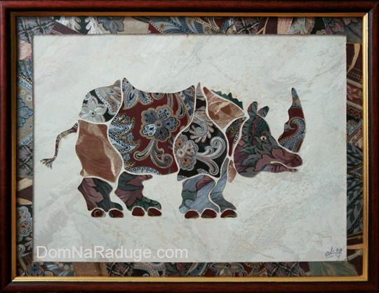 носорог из кусочков обоев