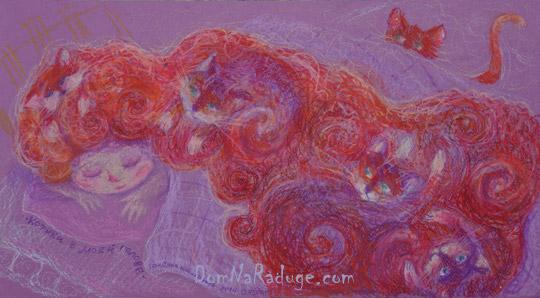 """рисунок масляной пастелью - """"Котики в моей голове"""""""