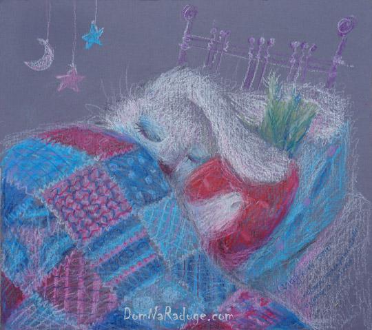 """рисунок масляной пастелью - """"Сладкий сон"""""""