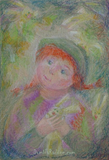 """рисунок масляной пастелью - """"Солнечные зайки"""""""
