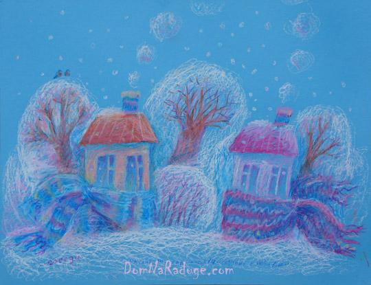 """рисунок масляной пастелью - """"Соседи"""""""