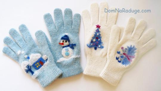 Сухое валяние - картинки на перчатках