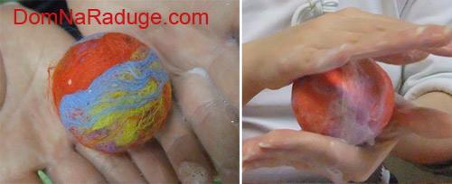 мокрое валяние из шерсти - ёлочные шары