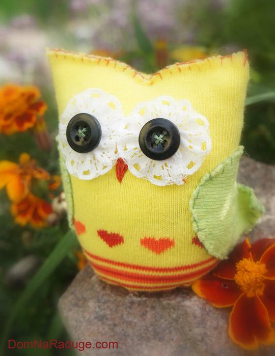 игрушки из носков - сова Сонечка