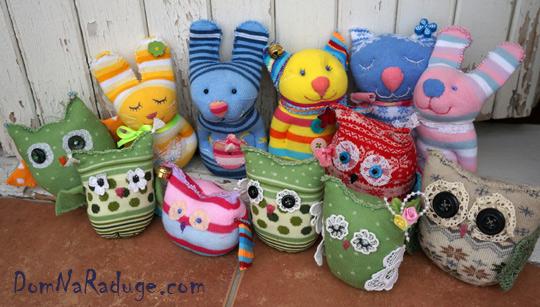 игрушки из носков - совы, коты, зайчики...