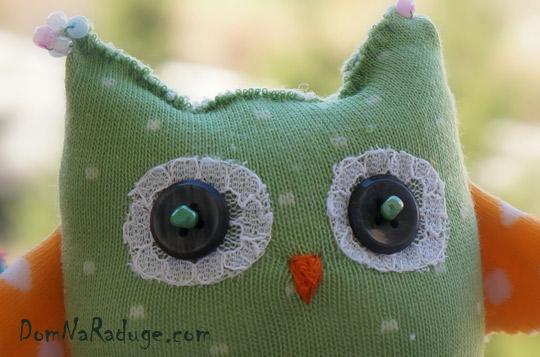 игрушка из носка - сова, детали