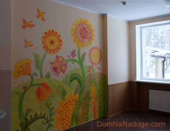 роспись стены в столовой