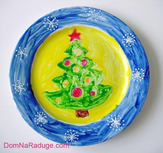 роспись тарелок: димкина новогодняя