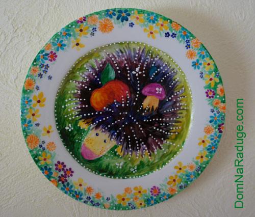 декоративная тарелка - ёжик