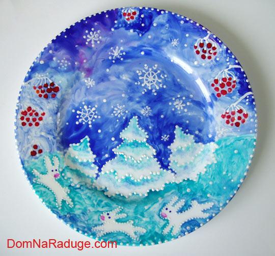 роспись тарелок: зимняя, новогодняя :)