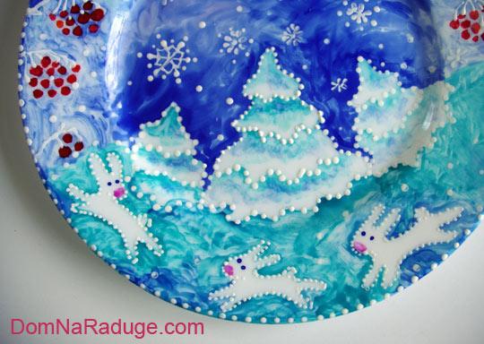 роспись тарелок: мамина новогодняя