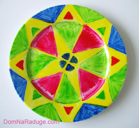 роспись тарелок: тётина геометрическая