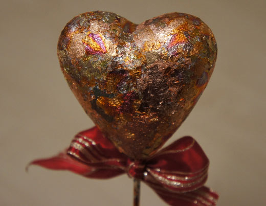 валентинка - декор поталью