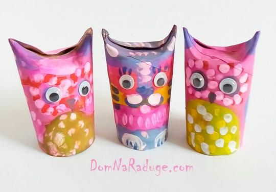 Игрушки из картонных втулок и бумажных стаканчиков - кот и сова
