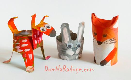 Игрушки из картонных втулок и бумажных стаканчиков - собака, заяц, лиса