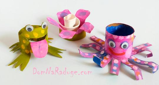 Игрушки из картонных втулок и бумажных стаканчиков - лягушка, цветок, лсьминог