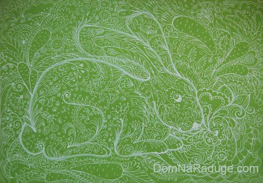 рисунки белым по цветному: кролик